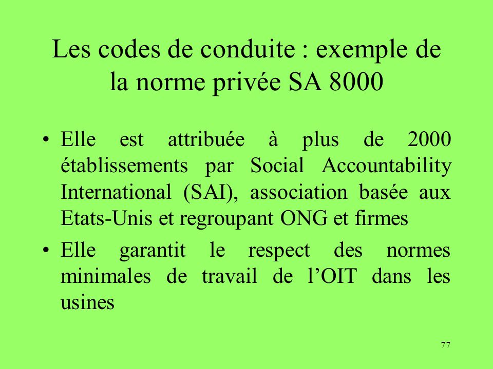 Les codes de conduite : exemple de la norme privée SA 8000