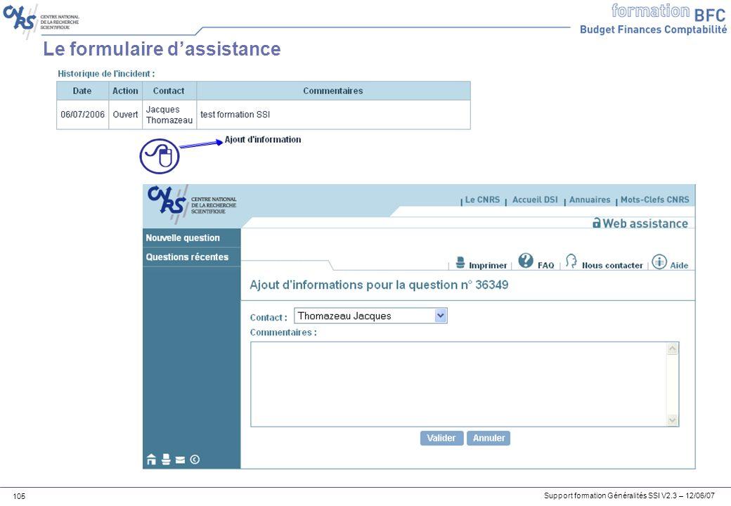 Le formulaire d'assistance