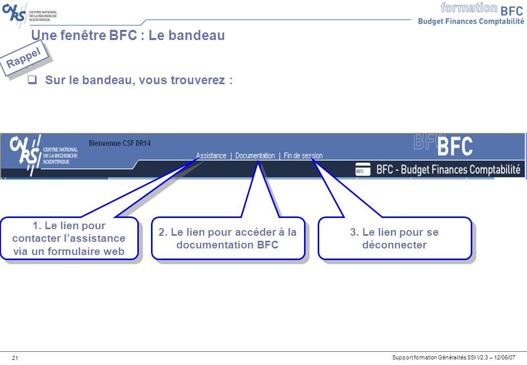 Une fenêtre BFC : Le bandeau