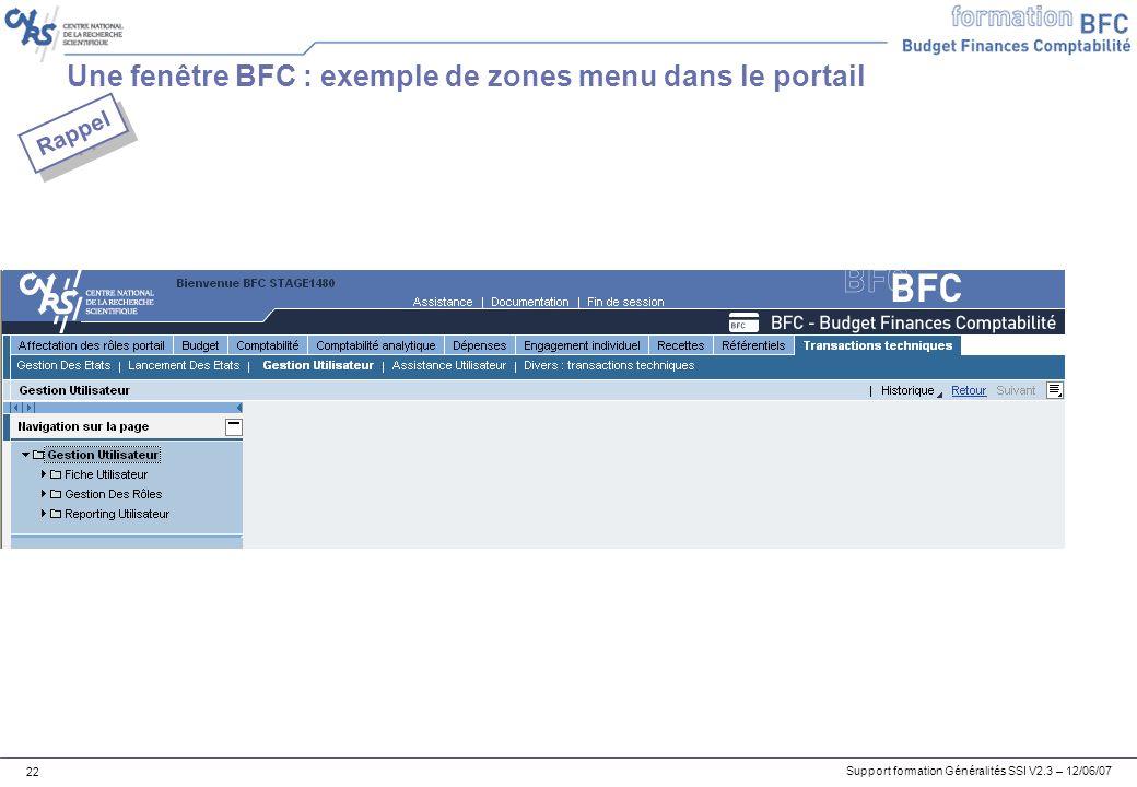 Une fenêtre BFC : exemple de zones menu dans le portail