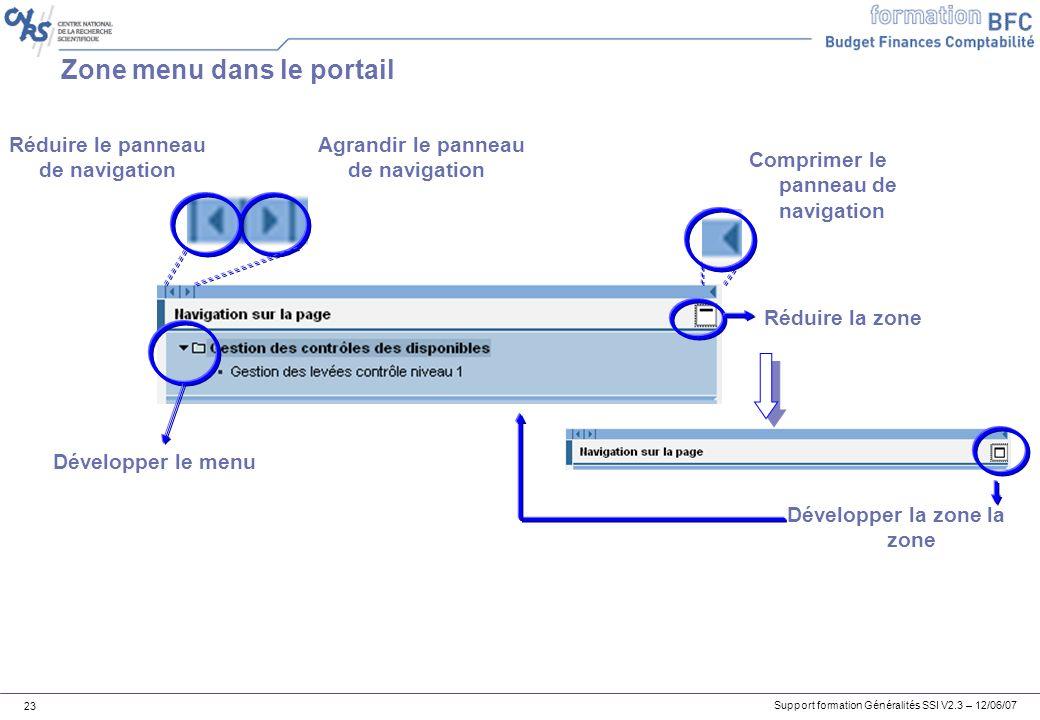 Zone menu dans le portail