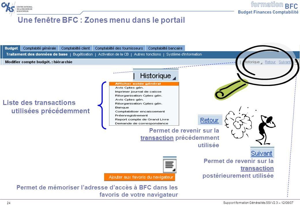 Une fenêtre BFC : Zones menu dans le portail