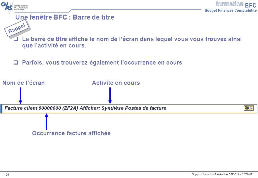 Une fenêtre BFC : Barre de titre