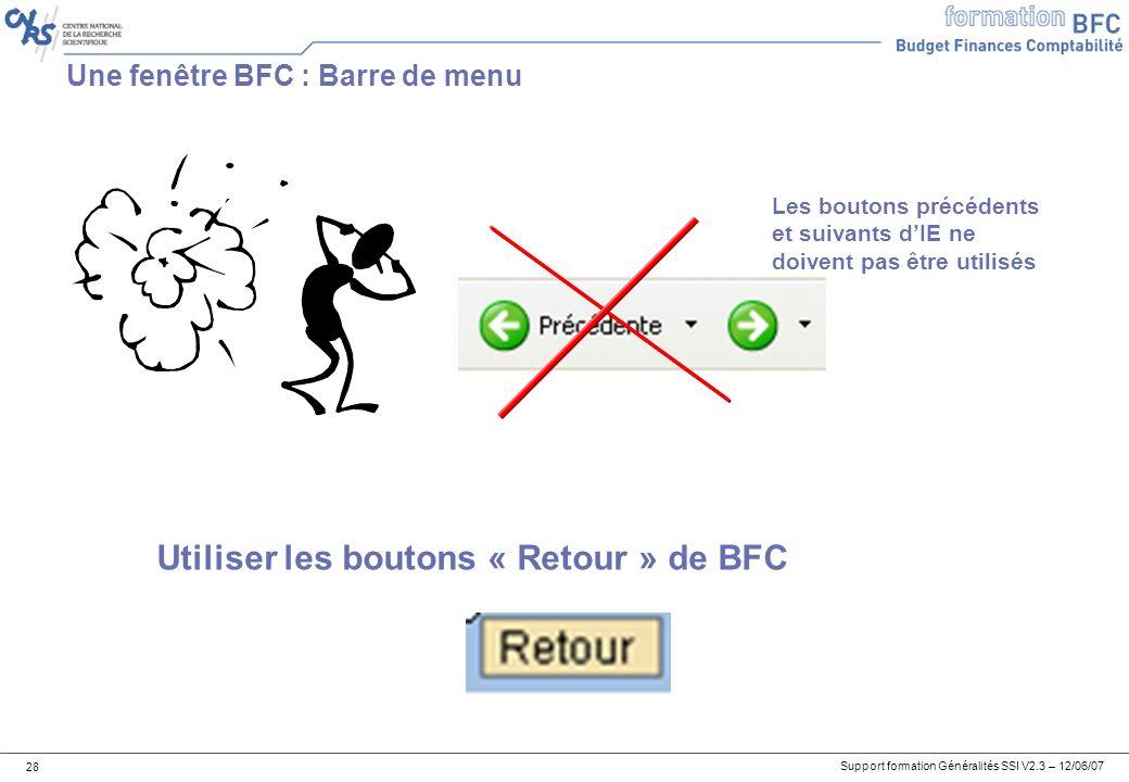 Une fenêtre BFC : Barre de menu