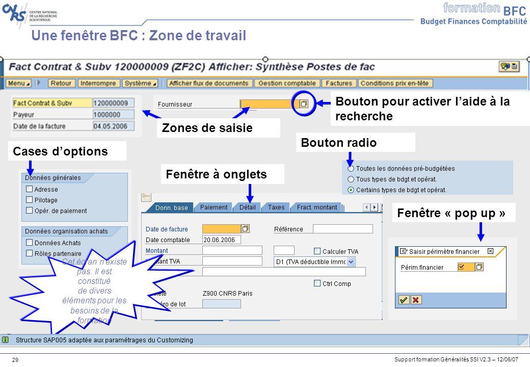 Une fenêtre BFC : Zone de travail