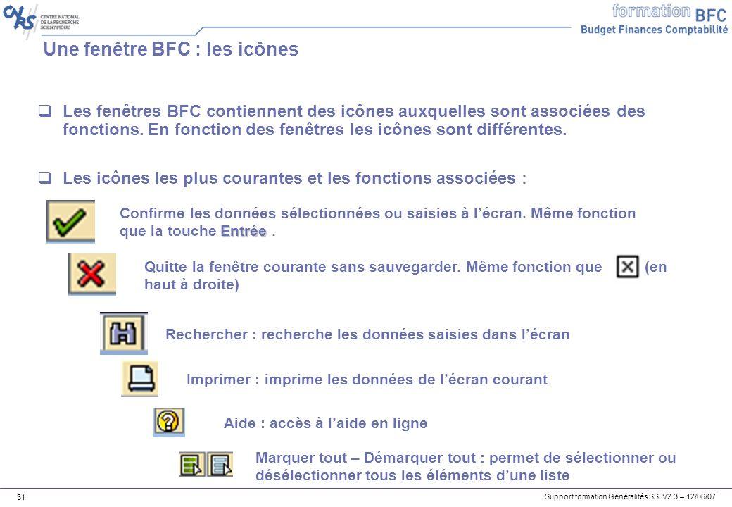 Une fenêtre BFC : les icônes