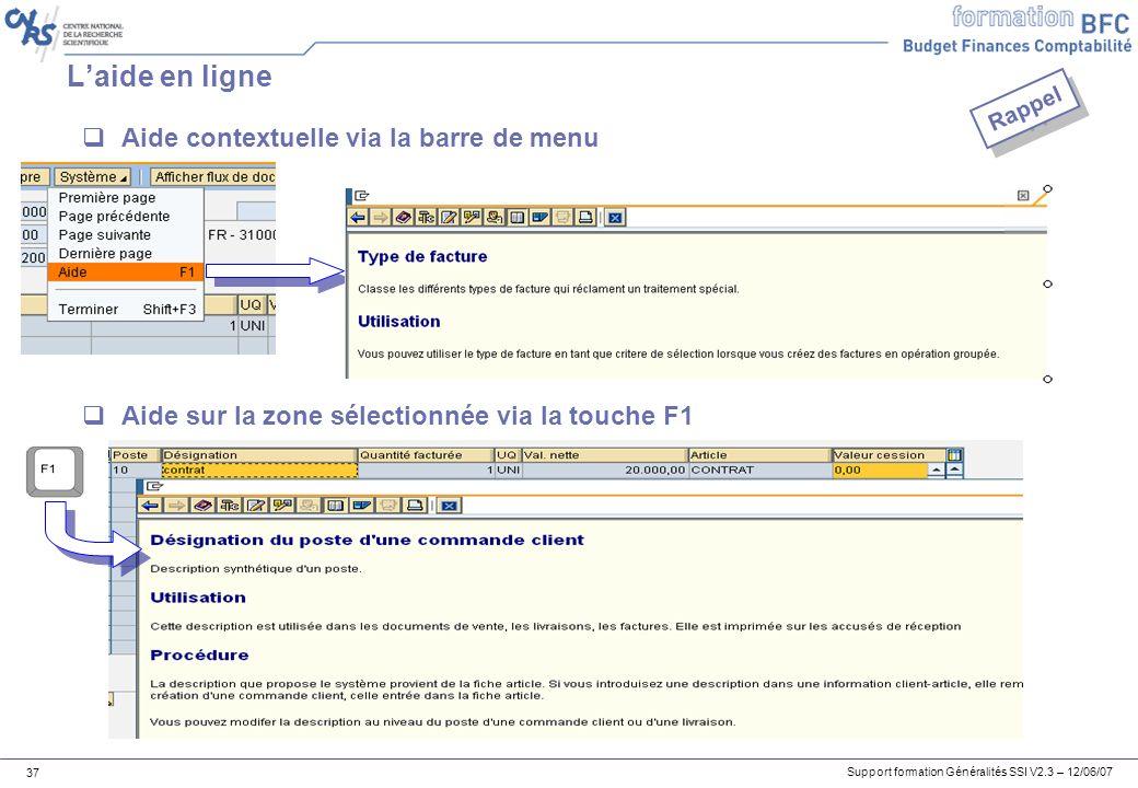 L'aide en ligne Aide contextuelle via la barre de menu