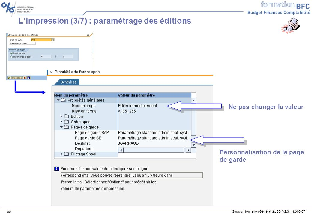 L'impression (3/7) : paramétrage des éditions