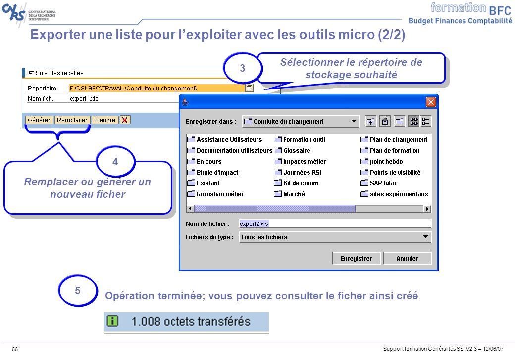 Exporter une liste pour l'exploiter avec les outils micro (2/2)