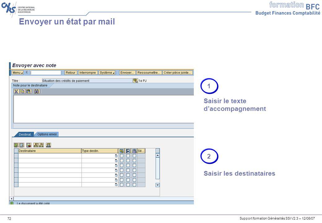 Envoyer un état par mail