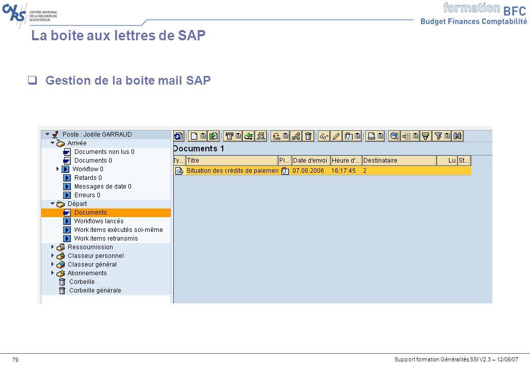 La boite aux lettres de SAP