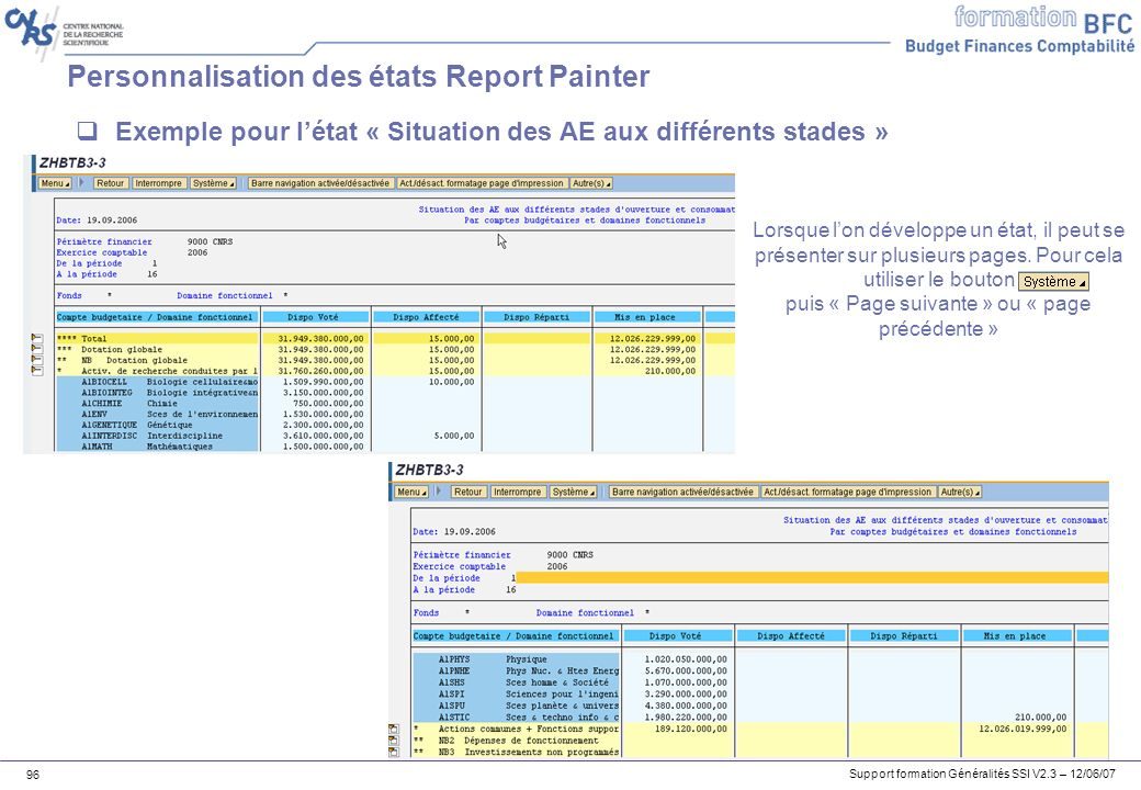 Personnalisation des états Report Painter