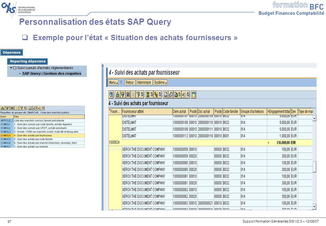 Personnalisation des états SAP Query