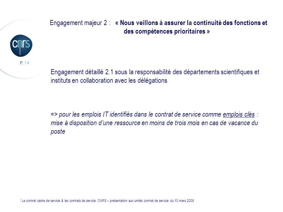 Engagement majeur 2 : « Nous veillons à assurer la continuité des fonctions et des compétences prioritaires »