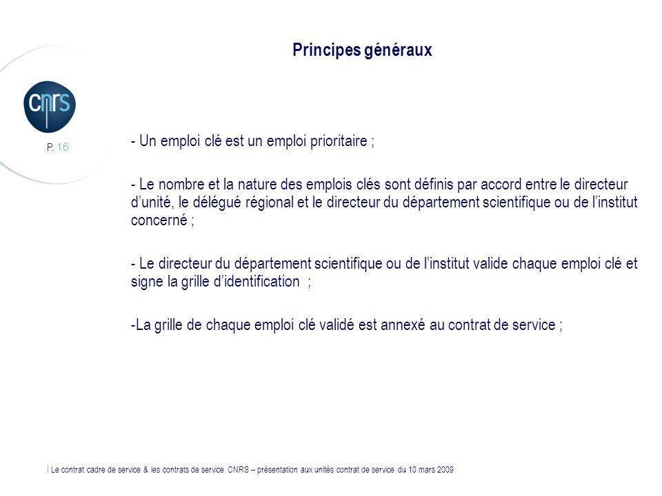 Principes généraux Un emploi clé est un emploi prioritaire ;