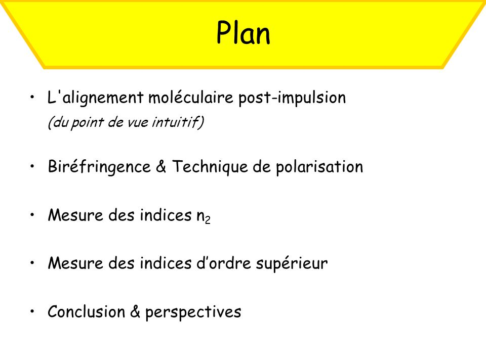 Plan L alignement moléculaire post-impulsion