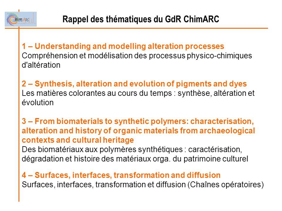 Rappel des thématiques du GdR ChimARC