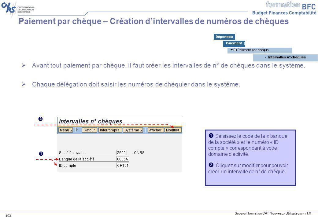 Paiement par chèque – Création d'intervalles de numéros de chèques