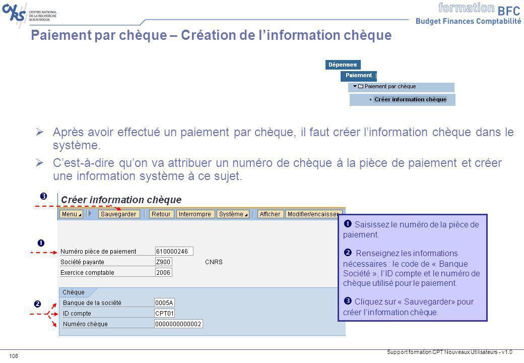 Paiement par chèque – Création de l'information chèque