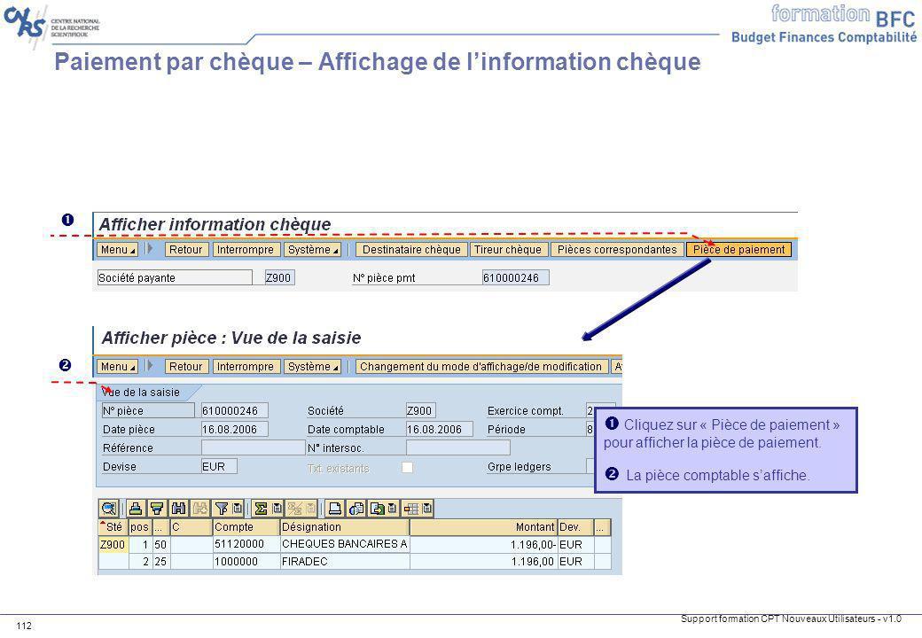 Paiement par chèque – Affichage de l'information chèque