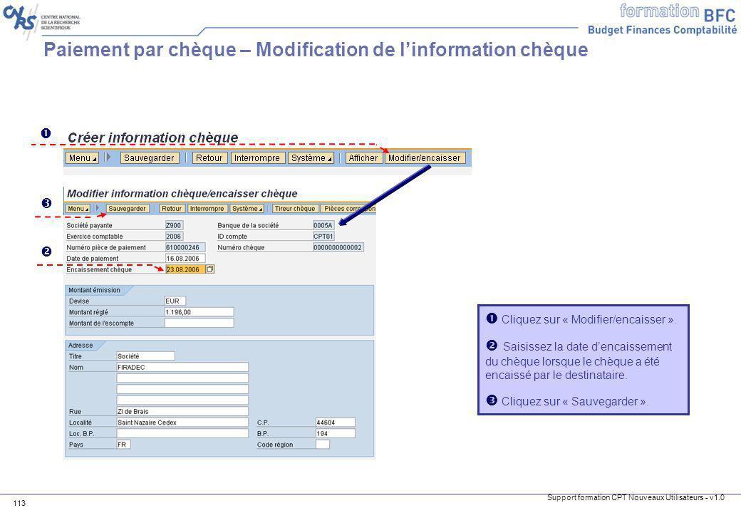 Paiement par chèque – Modification de l'information chèque