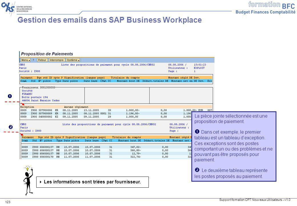 Gestion des emails dans SAP Business Workplace