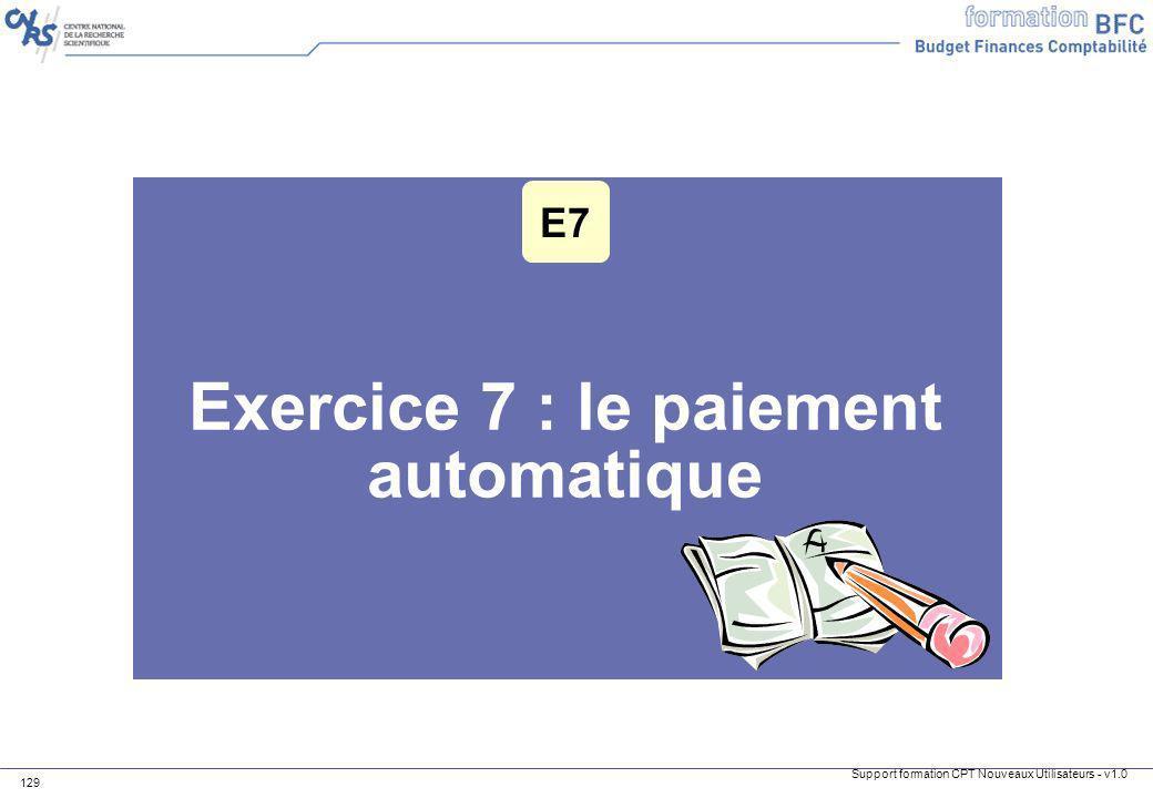 Exercice 7 : le paiement automatique