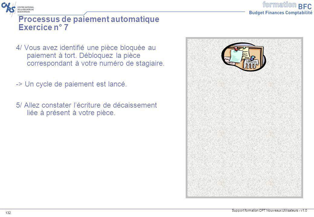 Processus de paiement automatique Exercice n° 7