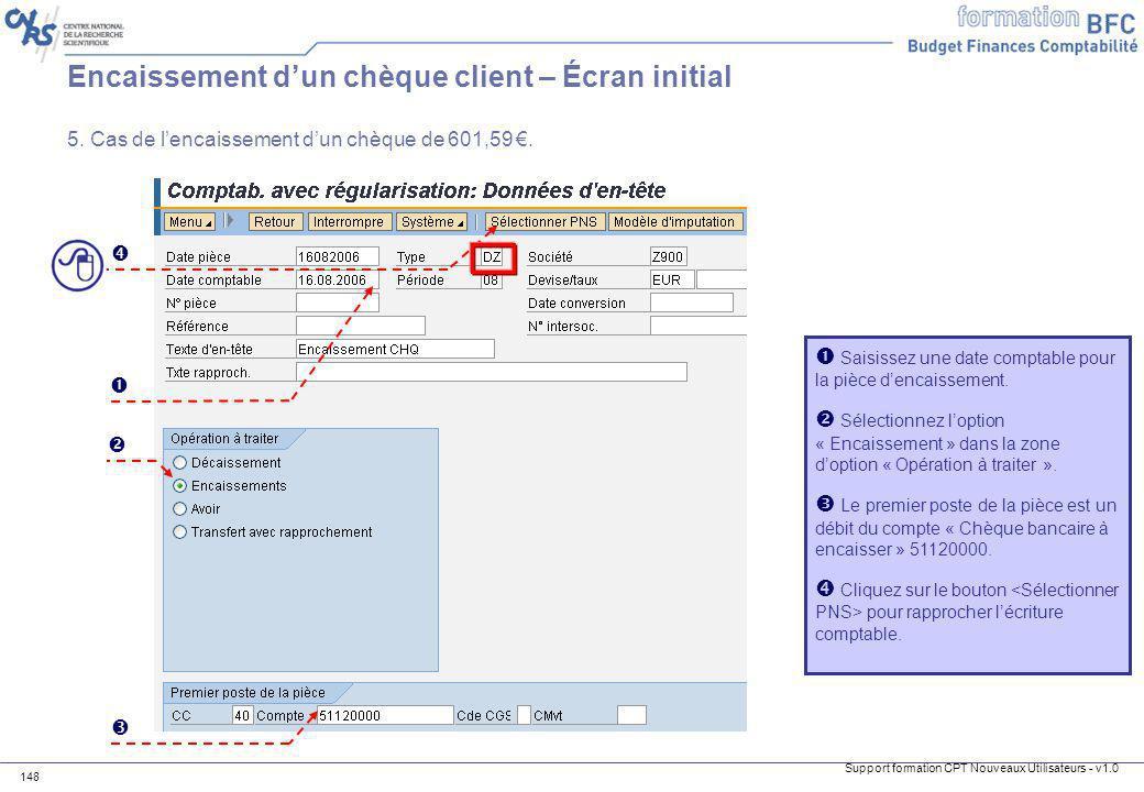 Encaissement d'un chèque client – Écran initial