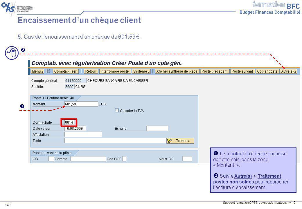 Encaissement d'un chèque client