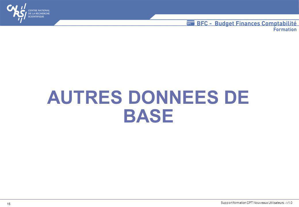 AUTRES DONNEES DE BASE