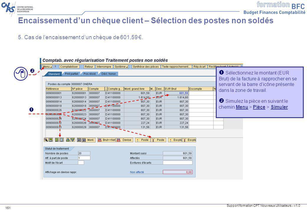 Encaissement d'un chèque client – Sélection des postes non soldés