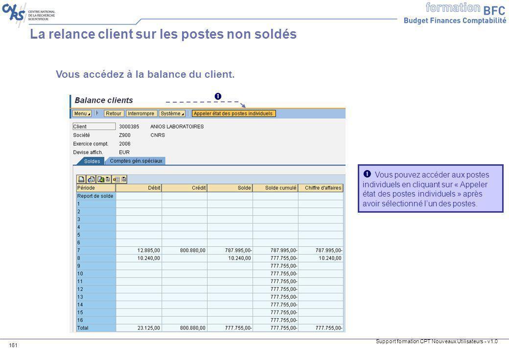 La relance client sur les postes non soldés