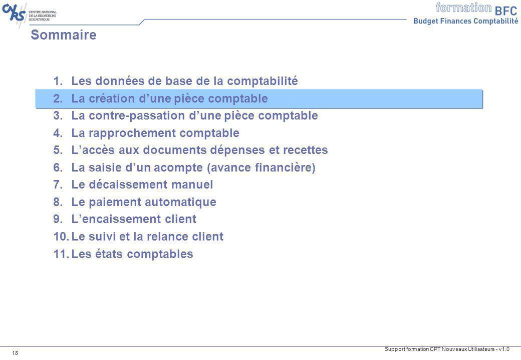 Sommaire Les données de base de la comptabilité