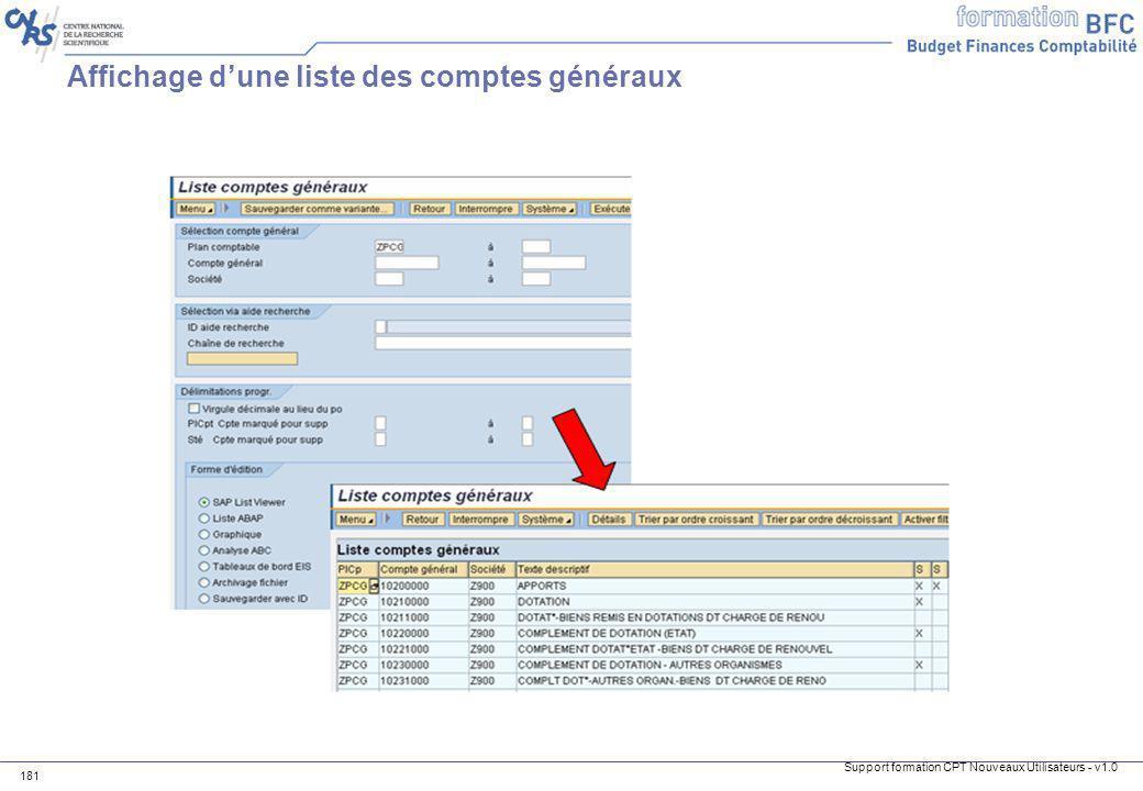 Affichage d'une liste des comptes généraux