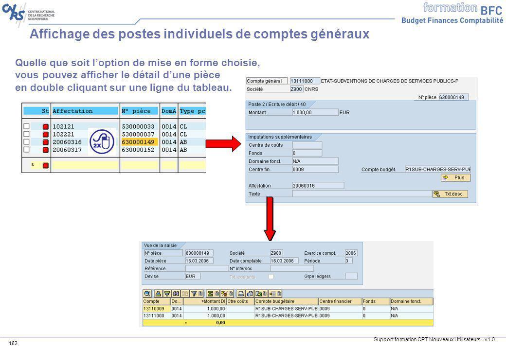 Affichage des postes individuels de comptes généraux
