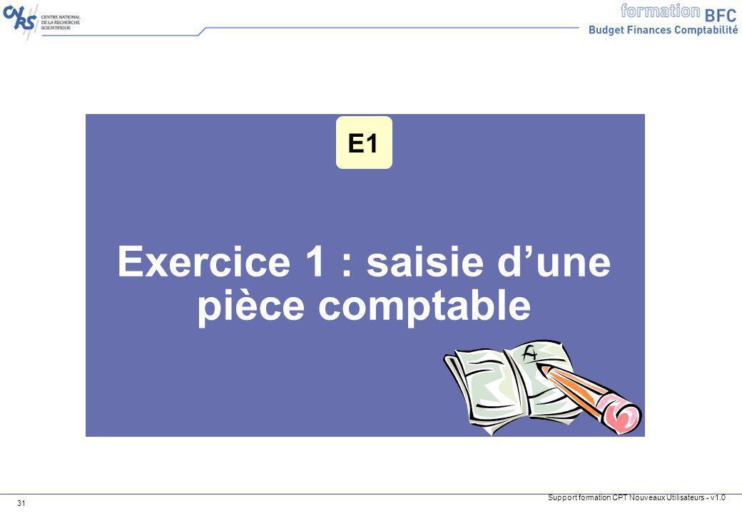 Exercice 1 : saisie d'une pièce comptable
