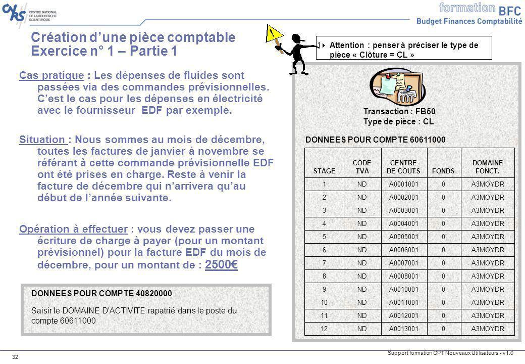 Création d'une pièce comptable Exercice n° 1 – Partie 1