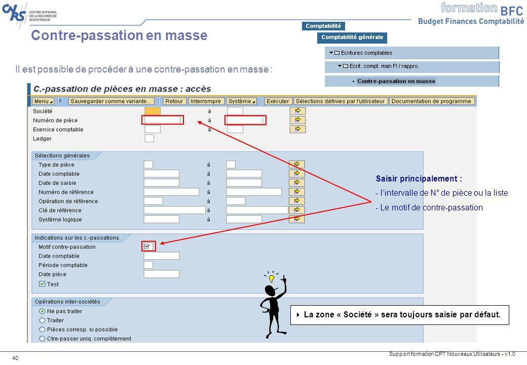 Contre-passation en masse