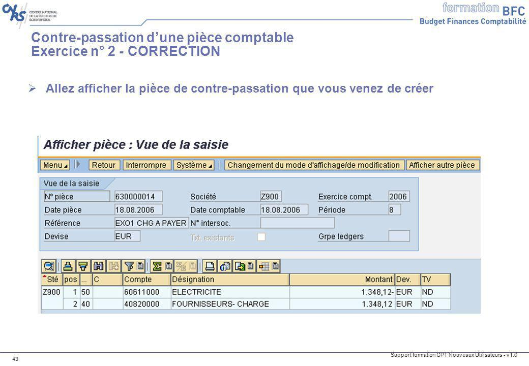 Contre-passation d'une pièce comptable Exercice n° 2 - CORRECTION