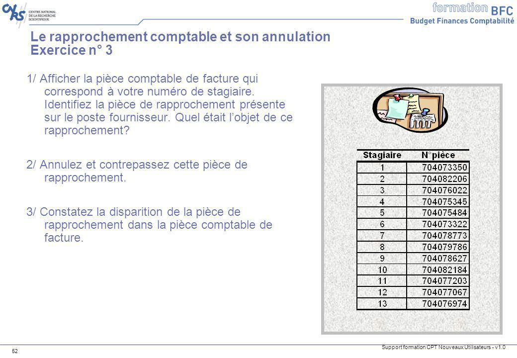 Le rapprochement comptable et son annulation Exercice n° 3