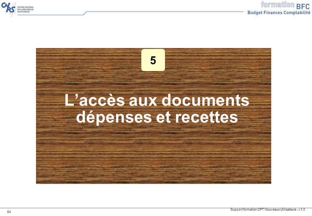 L'accès aux documents dépenses et recettes