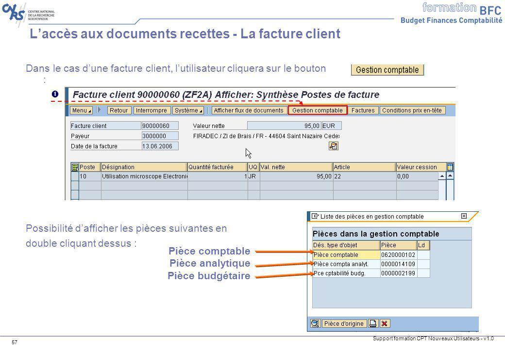 L'accès aux documents recettes - La facture client