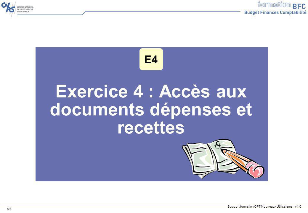 Exercice 4 : Accès aux documents dépenses et recettes