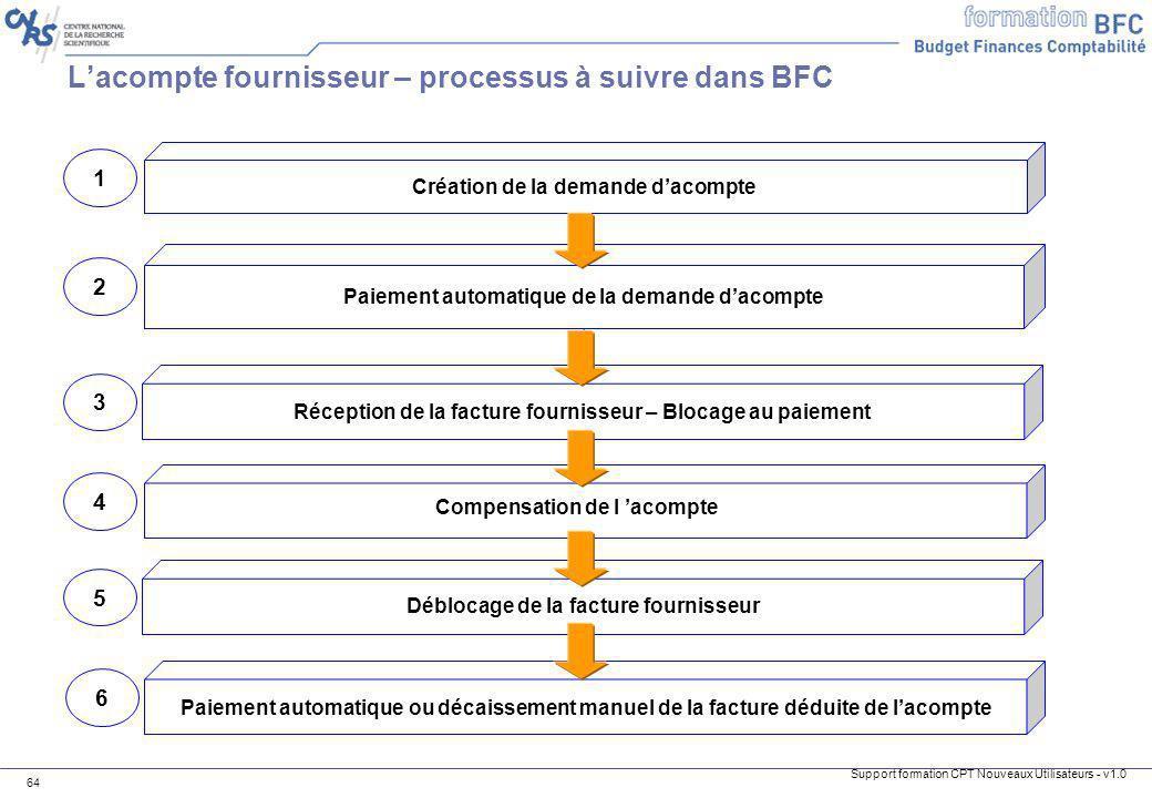 L'acompte fournisseur – processus à suivre dans BFC