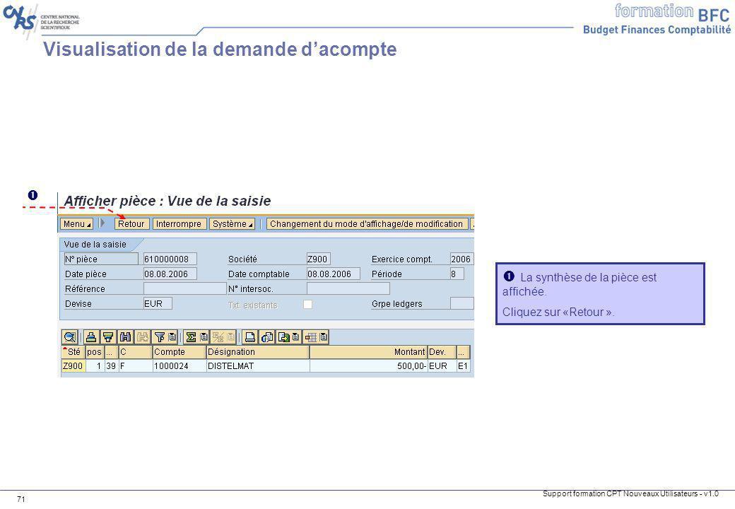 Visualisation de la demande d'acompte