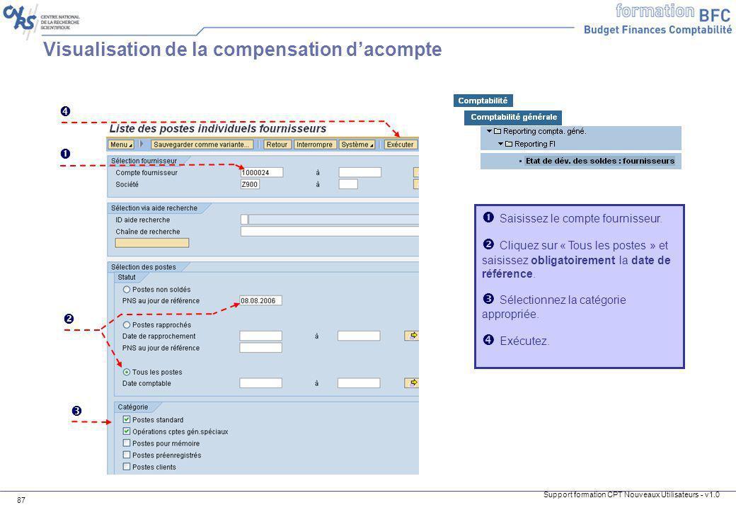 Visualisation de la compensation d'acompte
