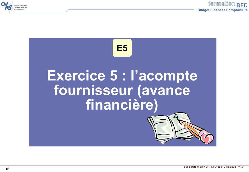 Exercice 5 : l'acompte fournisseur (avance financière)