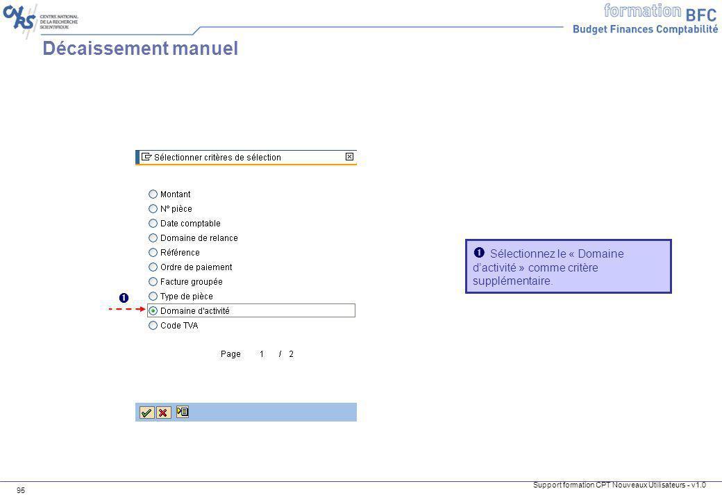 Décaissement manuel  Sélectionnez le « Domaine d'activité » comme critère supplémentaire. 