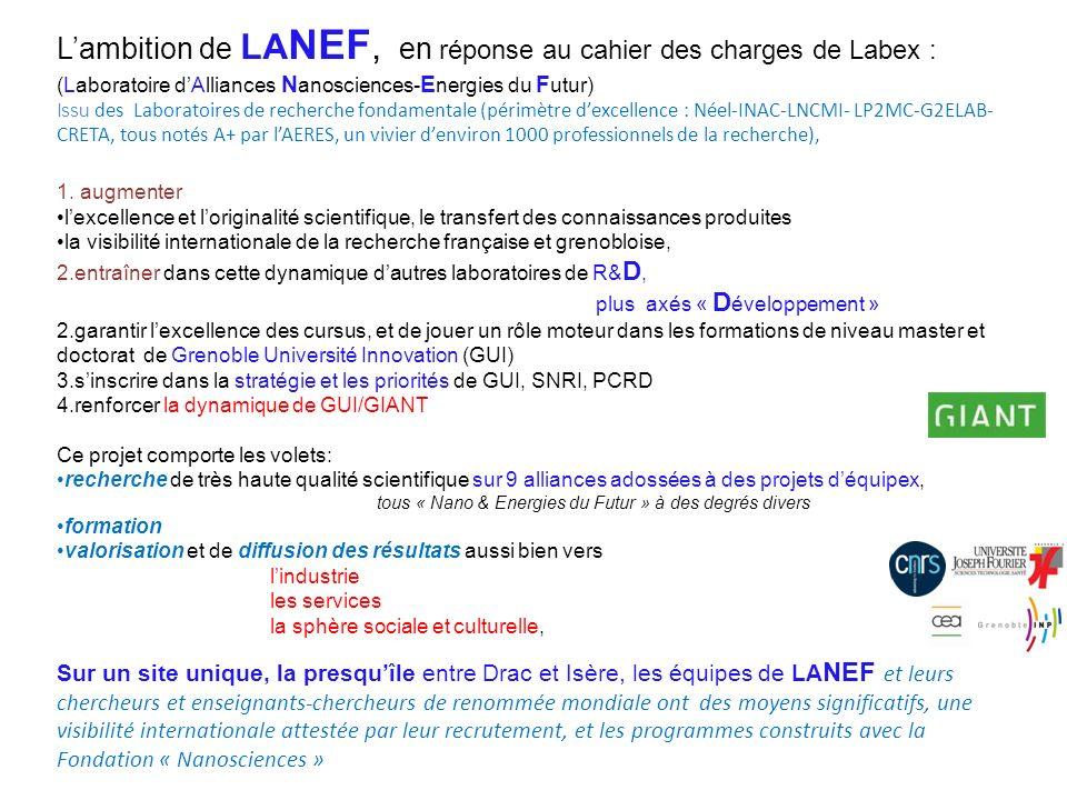 L'ambition de LANEF, en réponse au cahier des charges de Labex :
